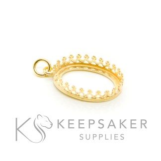 solid silver plated with gold 3 microns thick, gold vermeil oval necklace setting with crown points and jump ring