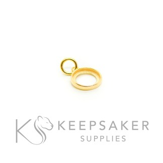 solid silver plated with gold 3 microns thick, small gold vermeil necklace setting 8mm round glue-in necklace setting with jump ring
