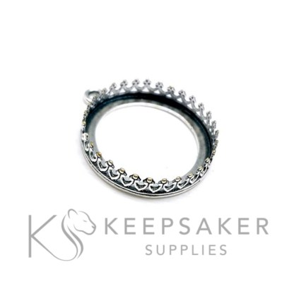 20mm round setting crown rubover. Solid sterling silver setting for breastmilk and keepsake jewellery making