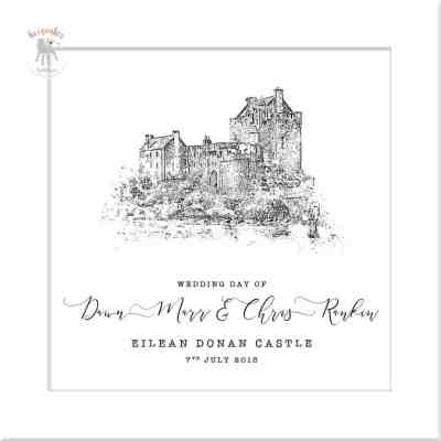 Wedding Venue illustration-square personalised with couples names
