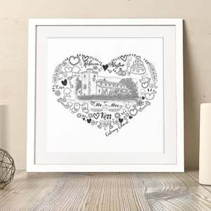 personalised-wedding venue-doodle heart-wedding gift