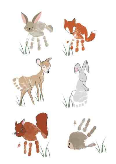 woodland animal handprint art | baby footprint