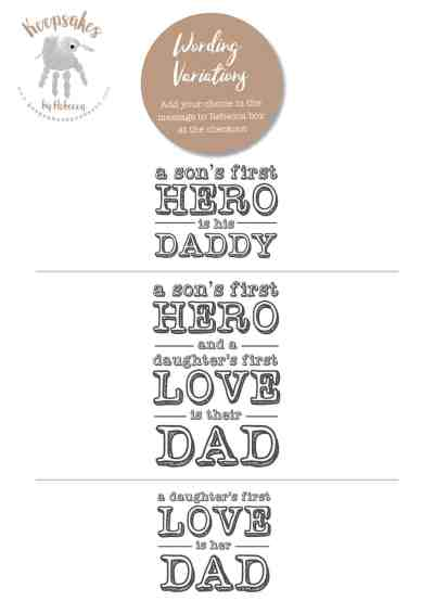 Family quote- gift for Dad from kids. Gift from daughter, gift from son, baby footprint art