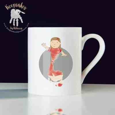 Liverpool football club personalised mug for dad- footprint art