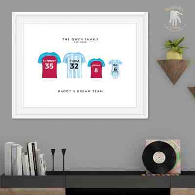 personalised Aston Villa-Family keepsake gift- football kit gift