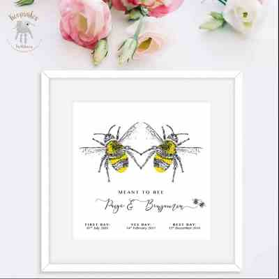 Bee-personalised gift for couple- wedding anniversary gift- special dates keepsake - personalised bee print