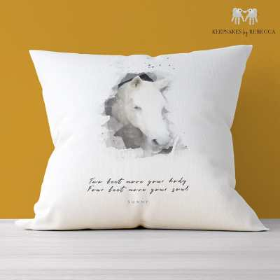 Personalised horse portrait pillow with horse quote