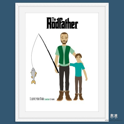 Family Portrait | Fishing Gift Dad | Father and Son portrait