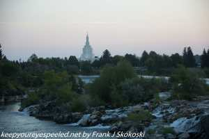 LDS Mormon temple in distance along Snake River Idaho Falls