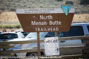 trail sign for Menan Butte at solar eclipse