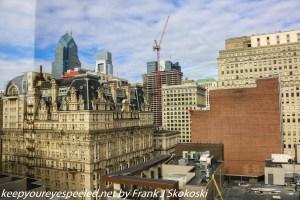 view of Philadelphia skyline from hotel room