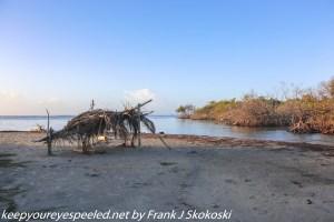 grass shelter on shore