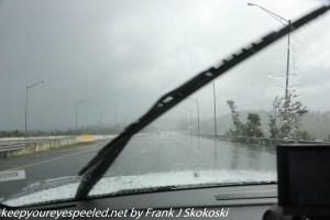 torrential rain on highway