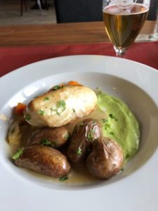 halibut, potatoes and a beer