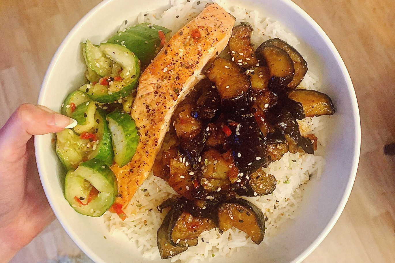 Keeva Eats Belfast Food Blog Pan-fried salmon, sticky aubergine, smacked cucumber