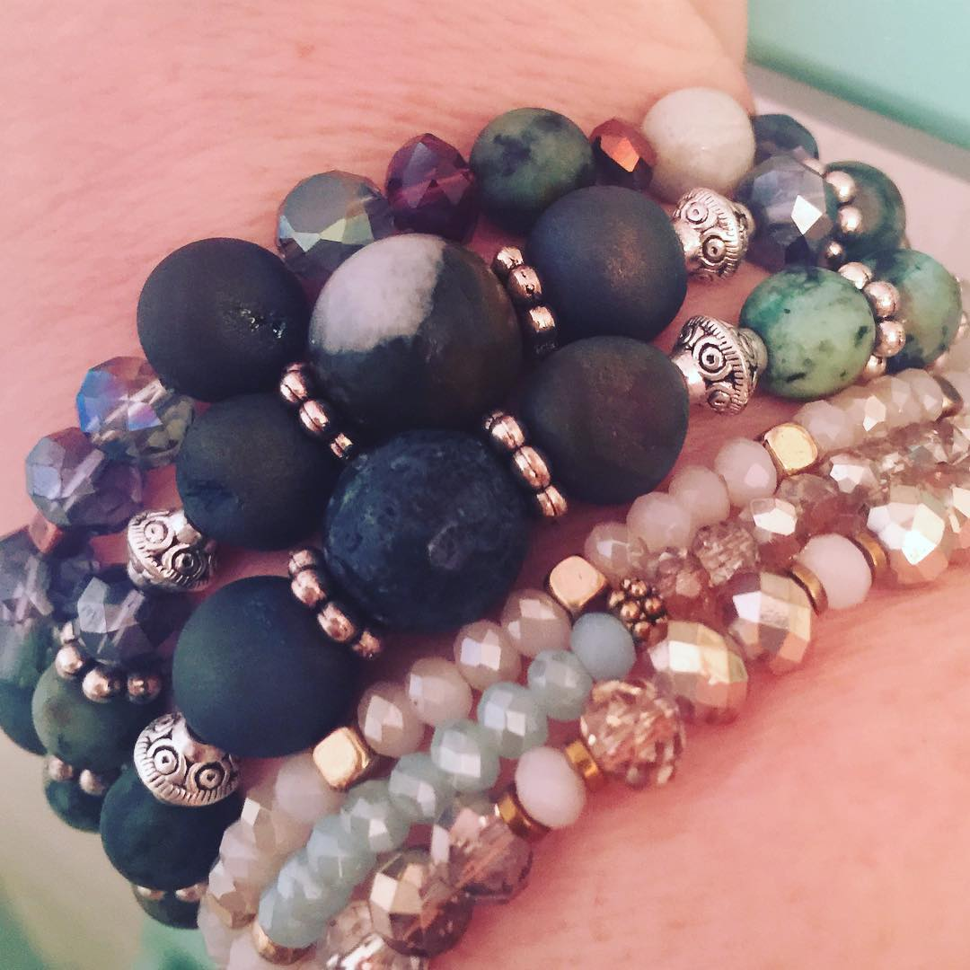 Get your stackon! aromatherapyjewelry lavarock hematitestone crystaljewelry amazonite keffiesjewels keffiesecochichellip
