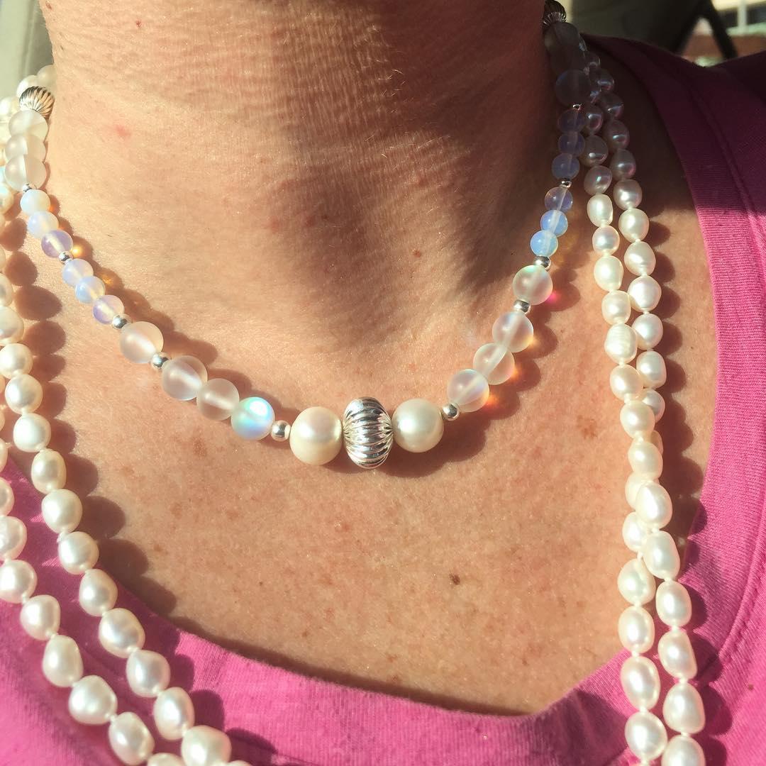 Love my pearls! moonstone pearls girlypearly pearlygirl handmadewithlove ecochic keffieshellip