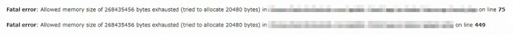 Fatal error:  Allowed memory size of 268435456 bytes exhausted (tried to allocate 351 bytes) in