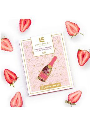 Love Cocoa Strawberry Champagne | White Chocolate Bar | KeiCo Drinks