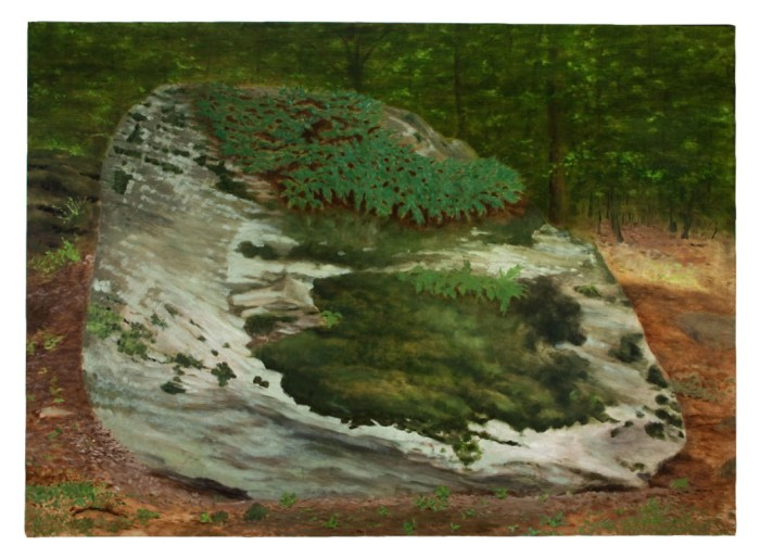 Oil painting of a large rock covered in moss and fern, with dark woods in the background