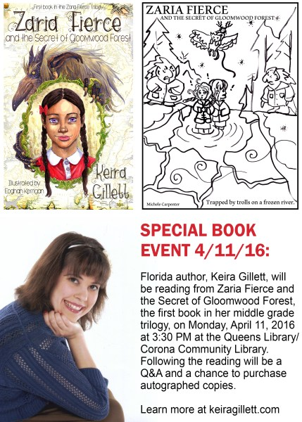flyer for reading at corona library 4-11-16