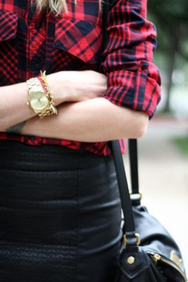 plaid and leather