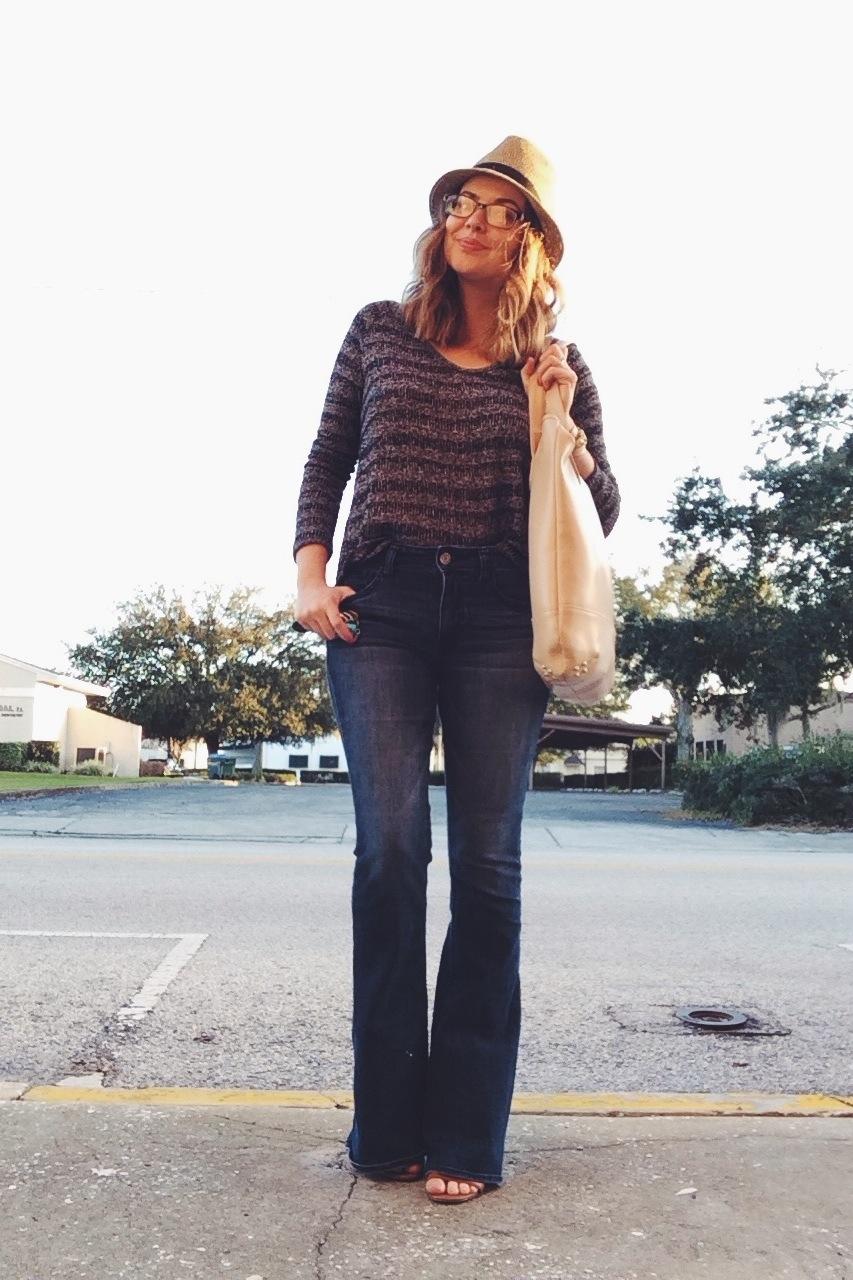 Monday: Aeropostale sweater, AE Hi-Rise Artist jeans, Nine West hat, Lauren Merkin bag.