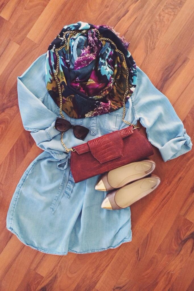 A Pretty Penny   Chambray Shirt Dress