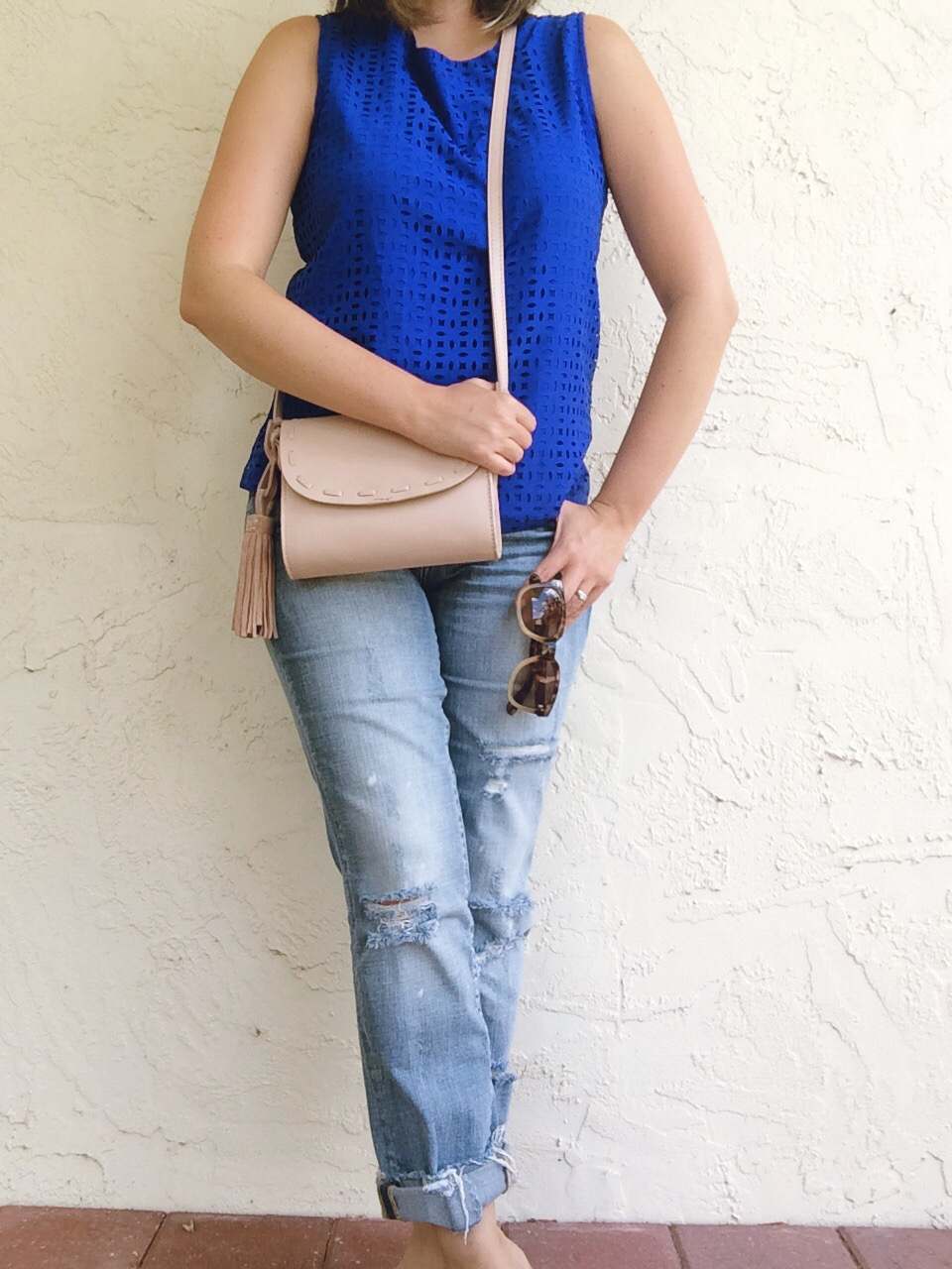 A Pretty Penny OOTD Blank NYC Galaxy Jeans Laser Cut Top Summer Style