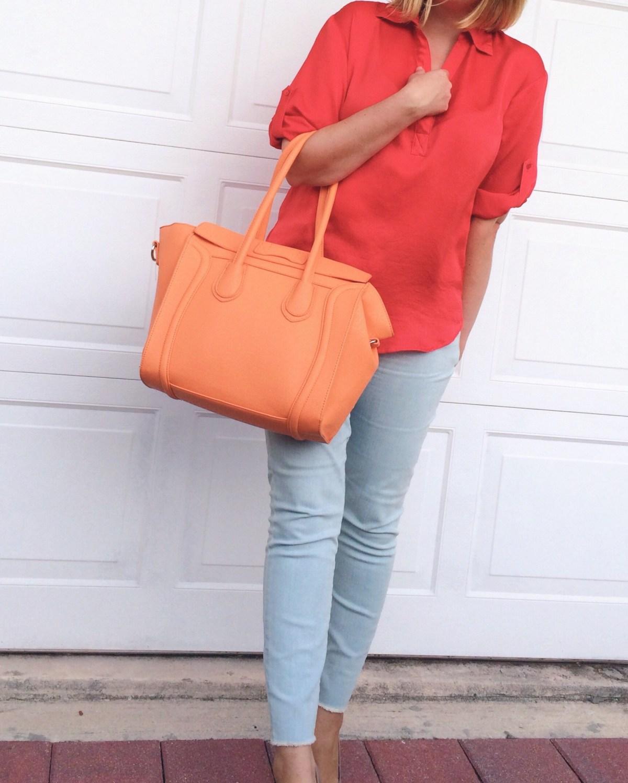 Style Blogger, Orange Outfit Ideas, Light Denim, Loft Curvy High Waist Skinnies
