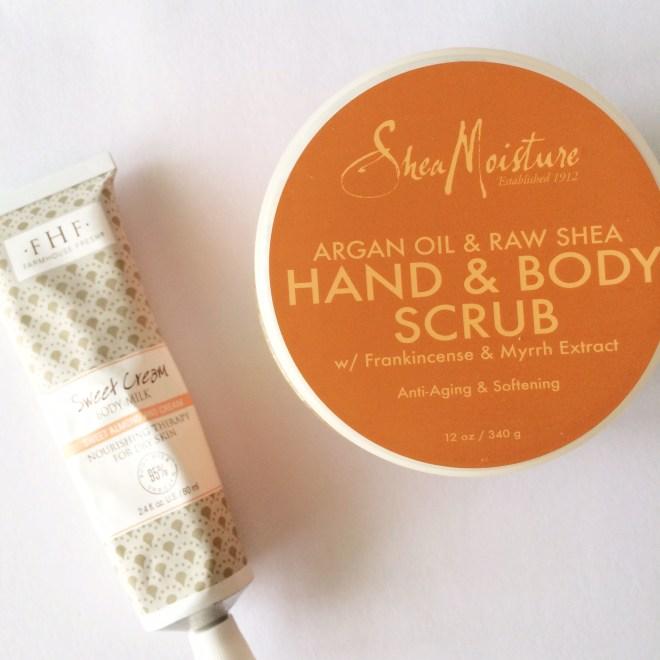 DIY Manicure, Shea Moisture Hand and Body Scrub, Farmhouse Fresh Sweet Cream Body Milk, Natural Beauty Products