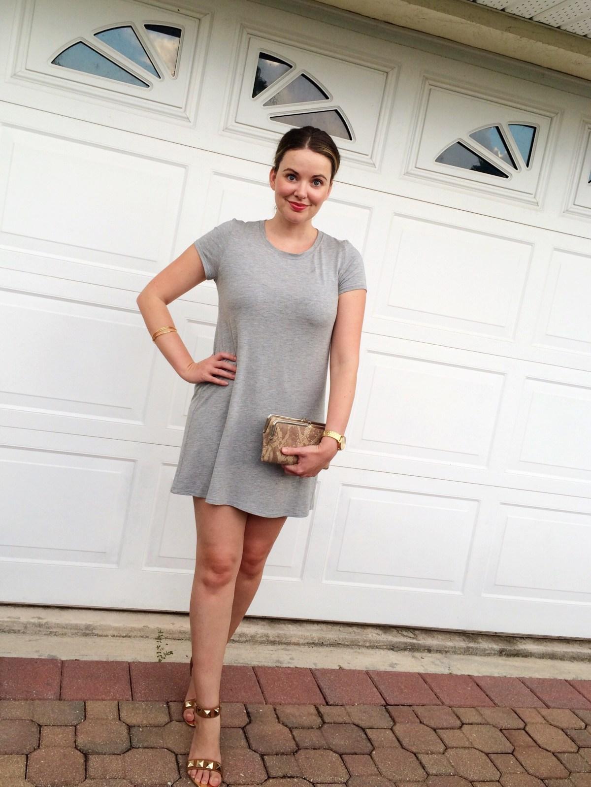 A Pretty Penny, T-Shirt Dress, Casual Style, Summer Outfit Ideas, OOTD, Neutrals, Closet Basics