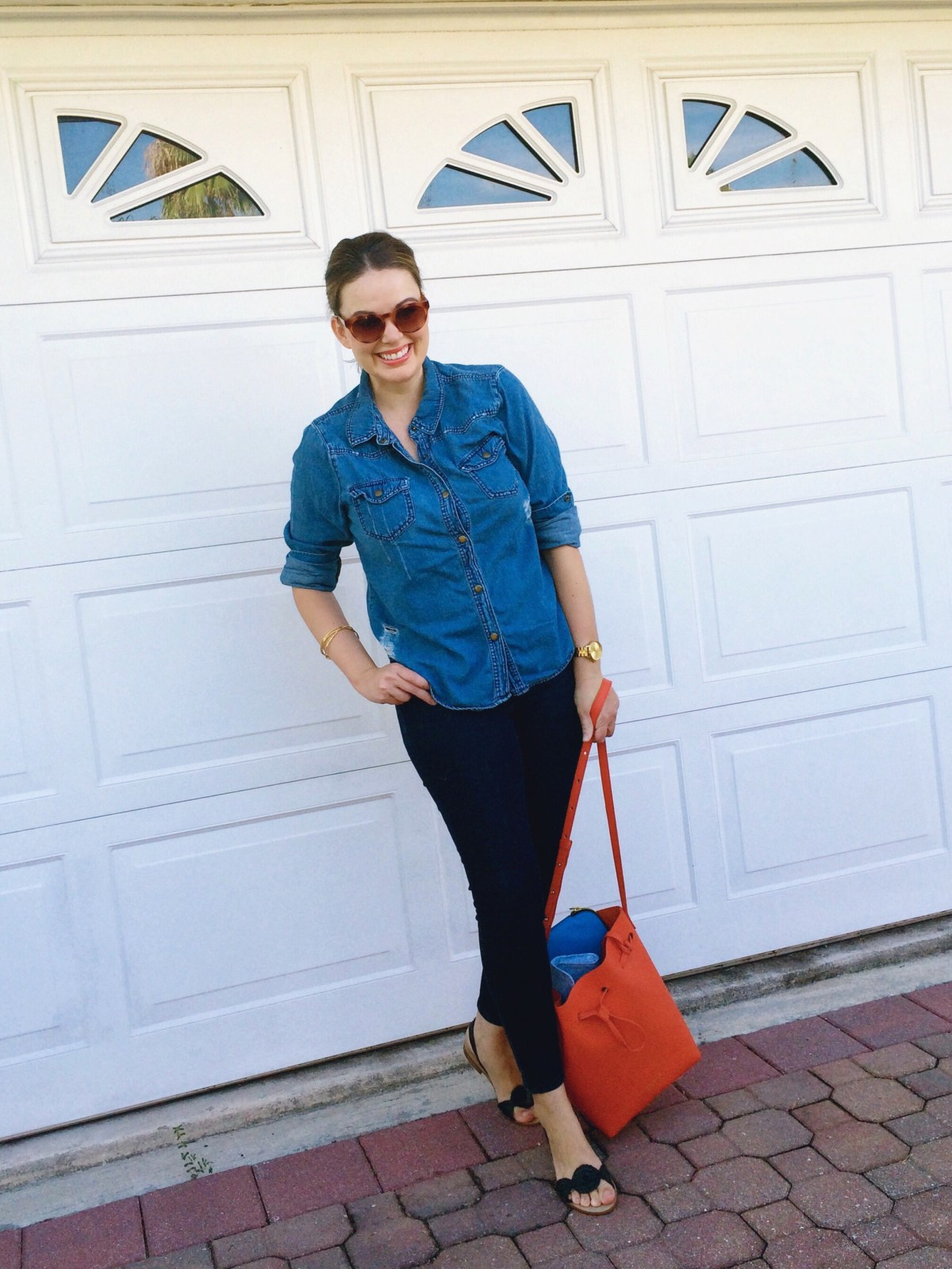 OOTD, Casual Style, Denim Shirt, Denim on Denim Outfit, Jack Rogers Liliana Sandals, Casual Outfit Ideas, How to Wear Denim on Denim
