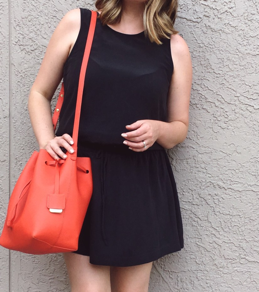 Summer OOTD: J.Crew Factory silk dress with bright leather bucket bag | keiralennox.com