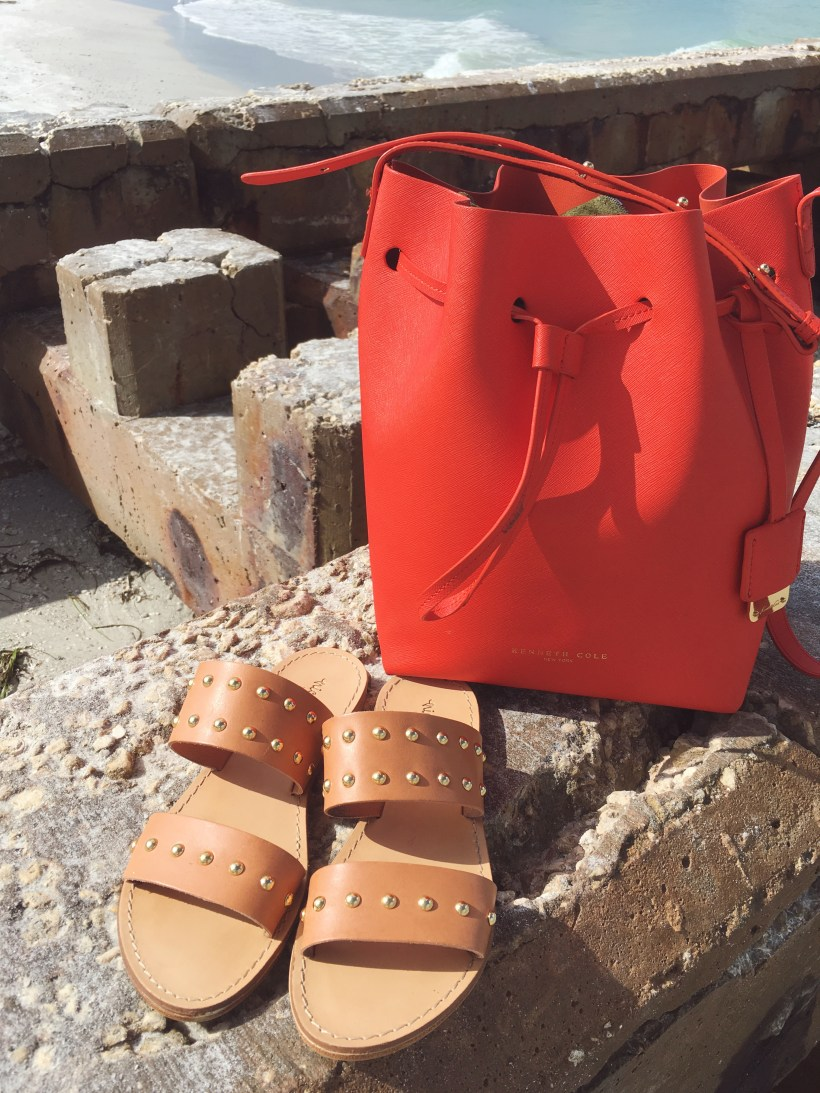 Summer accessories, Kenneth Cole Dover bucket bag, studded Italian leather slide sandals, Siesta Key Beach, summer style