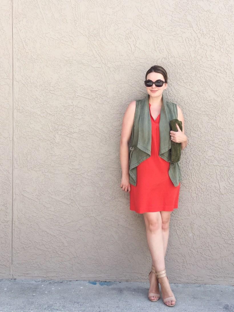 OOTD | LOFT tie-waist shirt dress with TJMaxx drape front vest and Nine West nude ankle wrap stiletto sandals | Summer Capsule Wardrobe 2016 | keiralennox.com