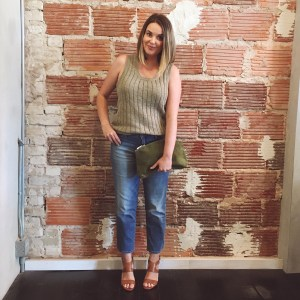 Summer Capsule Wardrobe Textured Stitch Tank and Straight Cropped Jeans | keiralennox.com