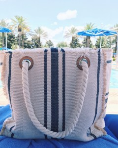 Vince Camuto Ulla Striped Tote Bag, Summer Accessories, Poolside, Ritz Carlton Grande Lakes