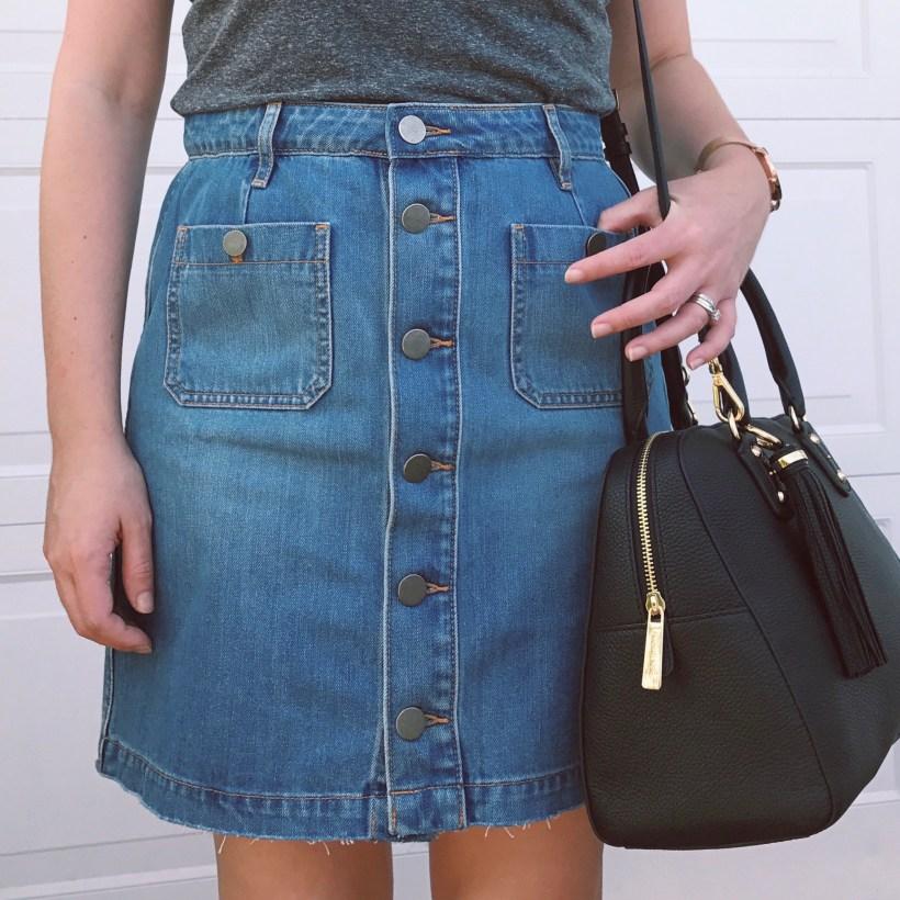 LOFT Denim Button Front Skirt, Women's Fashion