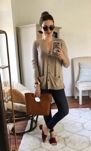 Thursday :: LOFT cardigan + Hudson jeans (Hautelook) + TJ Maxx slides