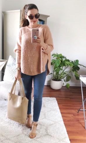 LOFT poncho sweater (old) + denim leggings + TJ Maxx sandals