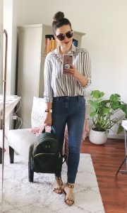 Easy outfit idea with striped button down shirt and skinny jeans.