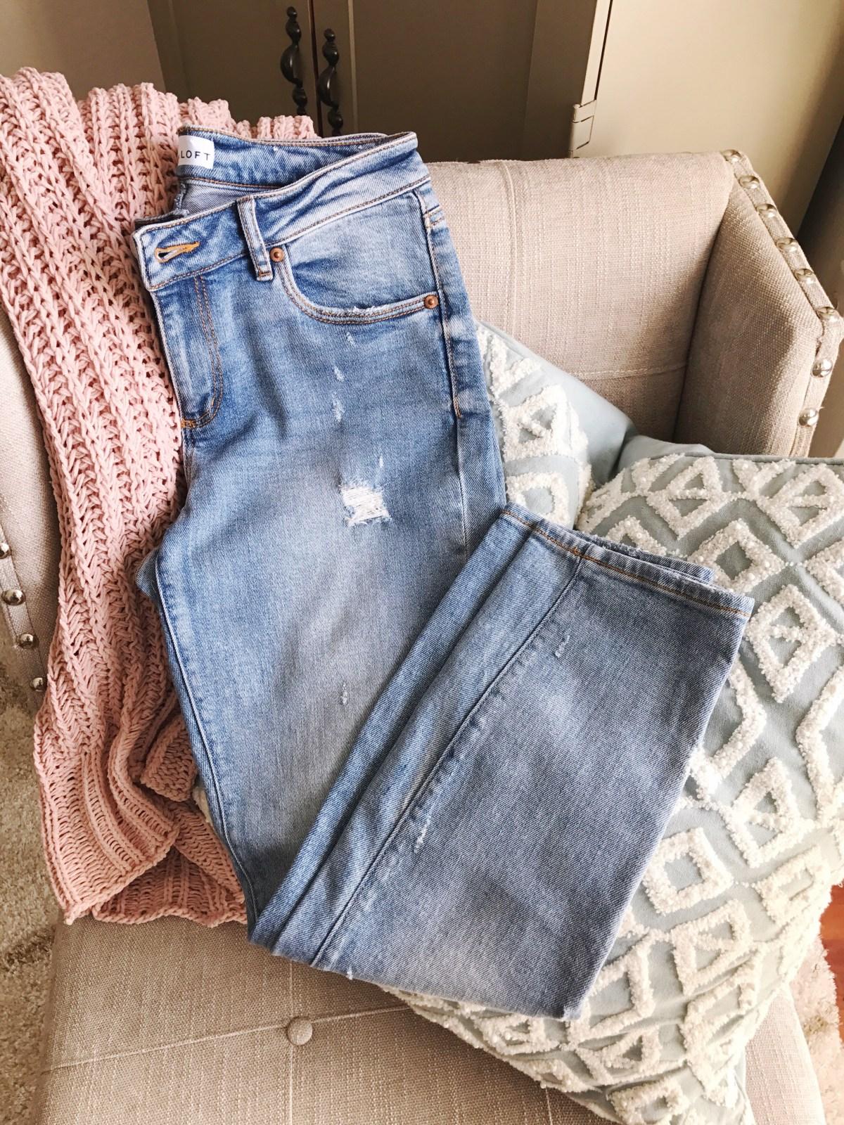 Loft Modern Skinny Crop Jeans in Destructed Light Indigo Wash, summer jeans