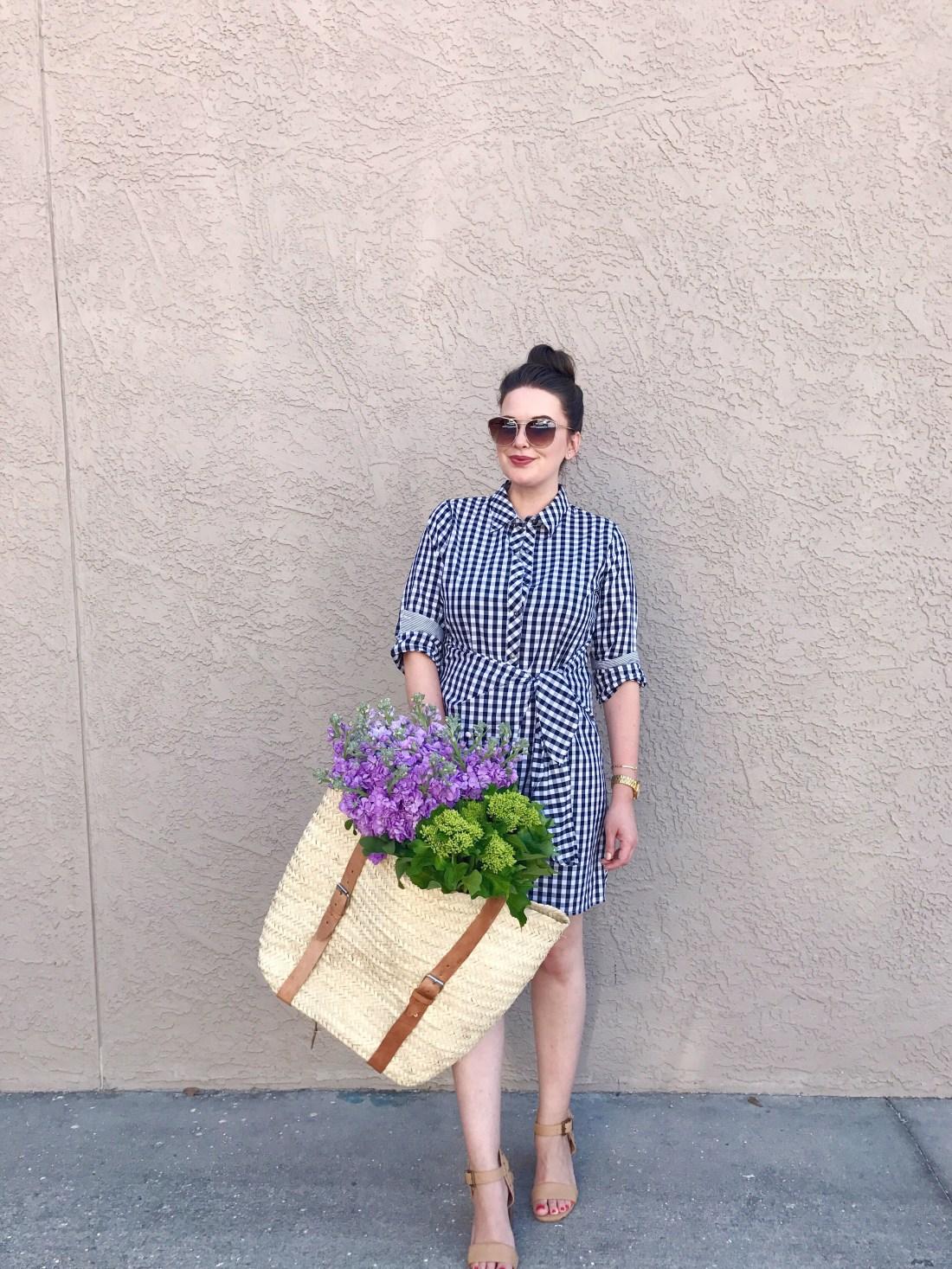 style blog, spring summer style, shirt dress outfit, flowers in handbag, basket bag backpack