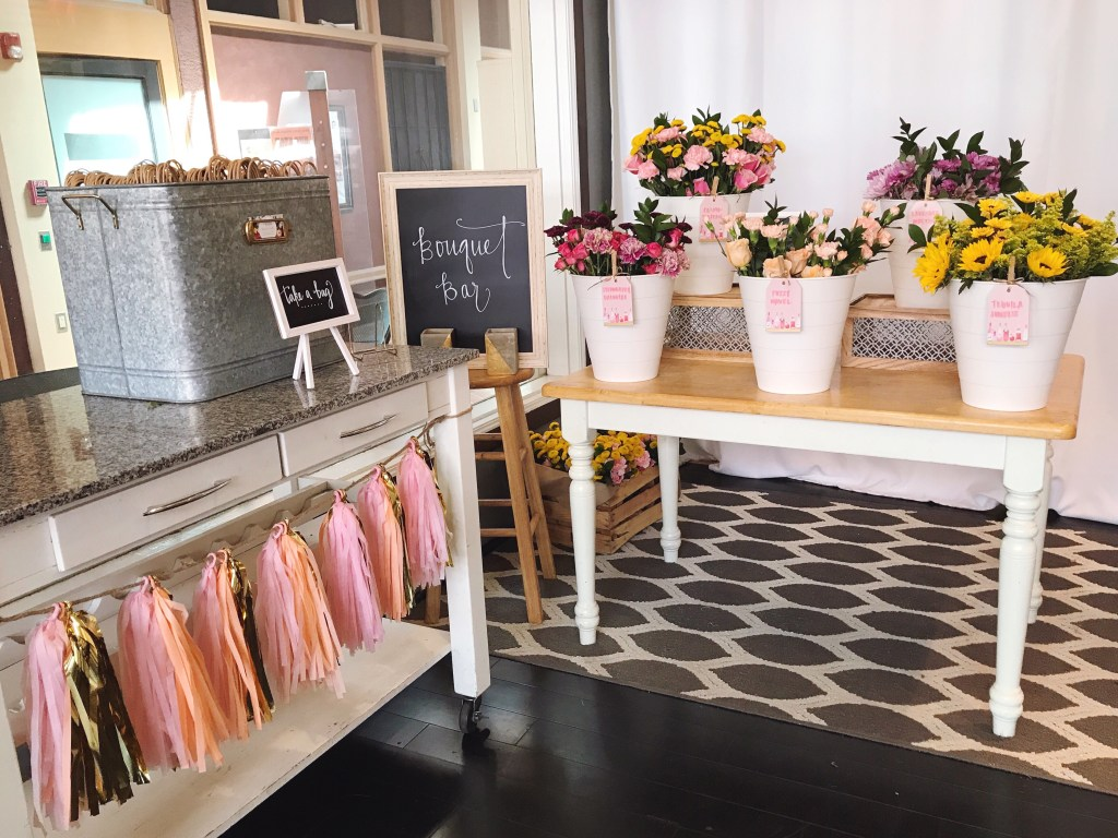 How to set up a DIY bouquet bar for a bridal shower or baby shower with IKEA products and hand-lettered signs.