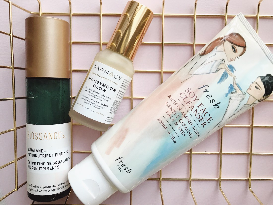 Skin Care Review: Fresh Soy Face Cleanser, Farmacy Honeymoon Glow AHA Resurfacing Night Treatment, Biossance Squalane + Micronutrient Fine Mist