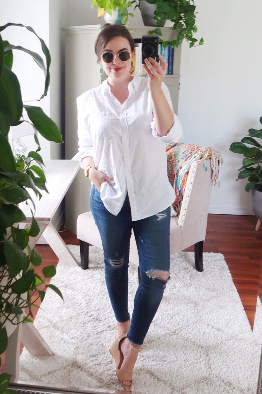 Style blogger wearing H&M cotton button-down shirt, LOFT distressed skinny jeans, Ray-Ban hexagonal sunglasses and nude leather wedge sandals