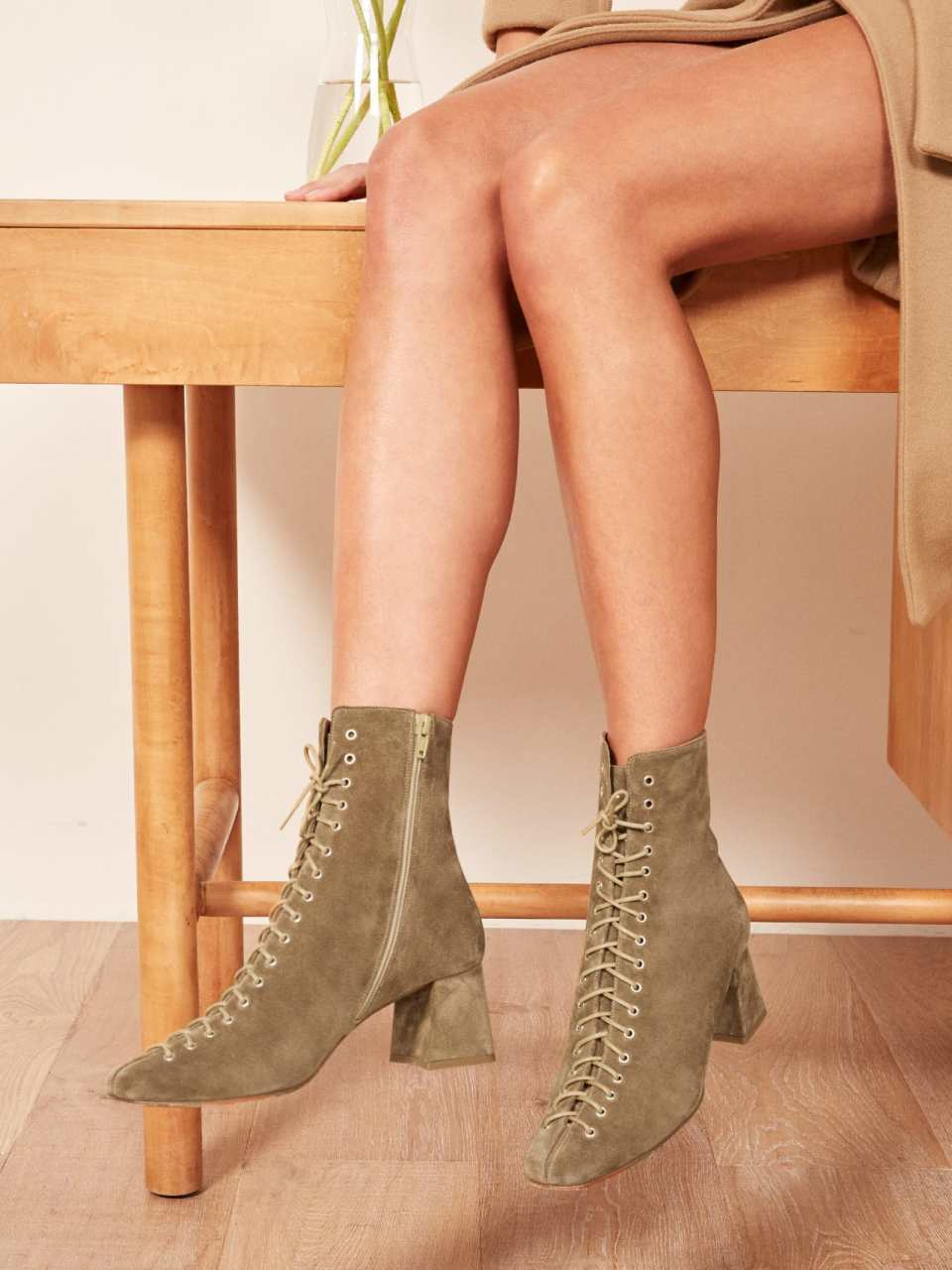 Reformation x By Far Becca Boots in Natural Leather