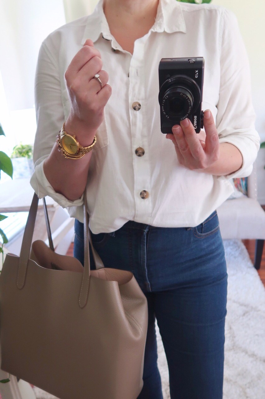 Style blogger wearing H&M Conscious cotton shirt and Everlane authentic high rise skinny jeans
