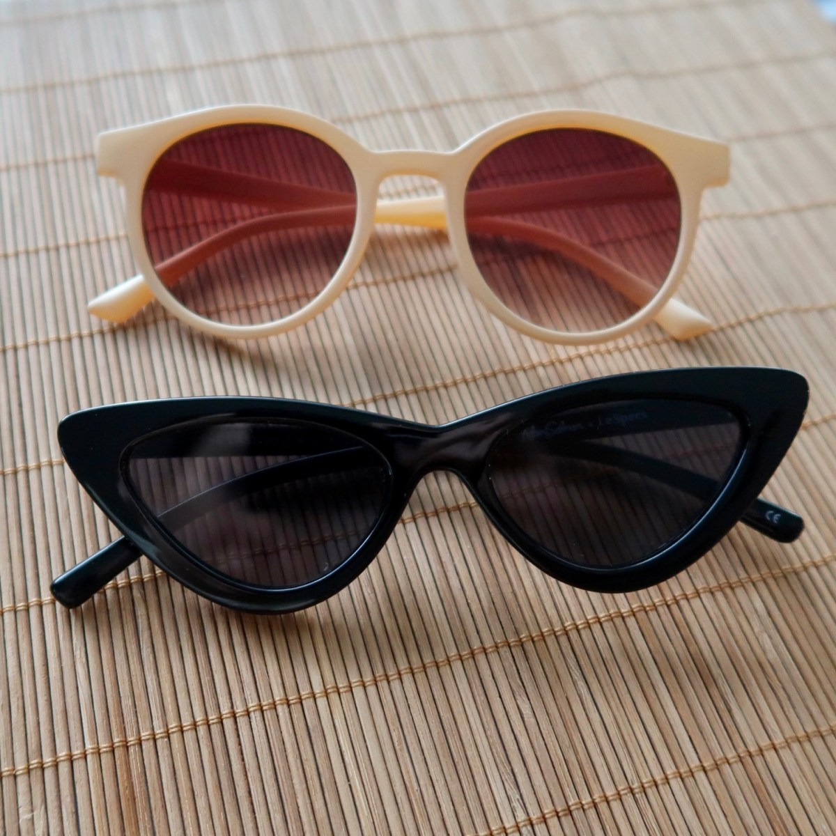 A J Morgan Lowkey Unisex Beige Sunglasses and Le Specs The Last Lolita Black Sunglasses